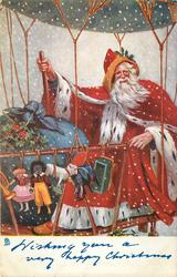 WISHING YOU A VERY HAPPY CHRISTMAS  Santa in gondola of airship, golly & toys hung on side