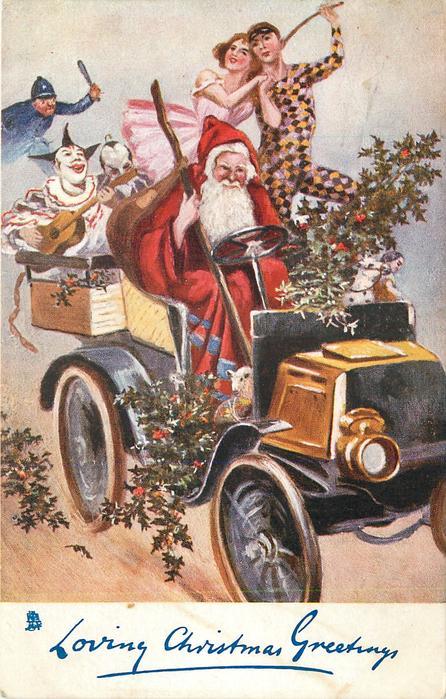LOVING CHRISTMAS GREETINGS  Santa drives car, clowns &  pierrots in back, policeman follows