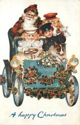 A HAPPY CHRISTMAS  Santa sits on back seat of car driven by girl in white, 2 other children & collie in car