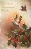 WITH BEST CHRISTMAS WISHES robin flies above right, two sprays of holly below
