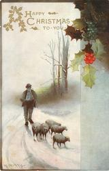 A HAPPY CHRISTMAS TO YOU  shepherd drives sheep front on snowy road