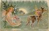 CHRISTMAS GREETINGS  angel drives sled, drawn by reindeer, carrying apples & Christmas tree