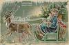 CHRISTMAS GREETINGS  blue robed Santa drives sled drawn by reindeer, carrying apples, doll & Christmas tree