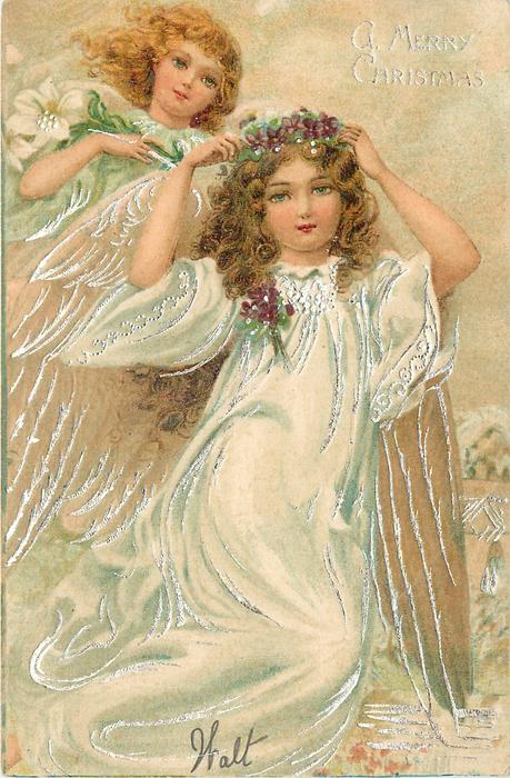 A MERRY CHRISTMAS  full length angel in swirling white robe holding violet circlet on head, another angel behind left