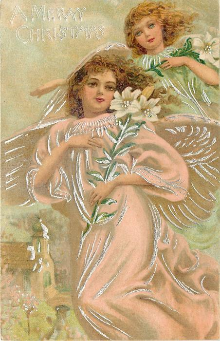 A MERRY CHRISTMAS (2 types)  full length angel in swirling pink robe carrying Easter lily, other angel behind right