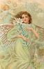 CHRISTMAS GREETING  full length angel in swirling green robe carrying EASTER lily, other angels behind left