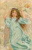 A HAPPY CHRISTMAS  full length angel in swirling  blue robe holding violet circlet on head, other angels behind right