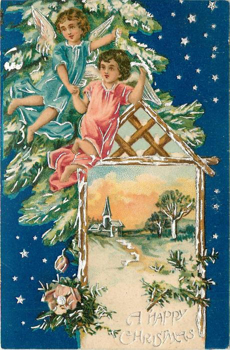 A HAPPY CHRISTMAS  inset lower right with church and trees, two angels above, blue background