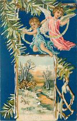 A HAPPY CHRISTMAS  inset lower left/centre, snowy banks of stream, trees behind, two angels above, blue background