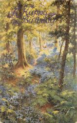 woman and child in woods, blue flowers and tree between them