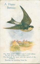A HAPPY BIRTHDAY  martin/swallow flies above field