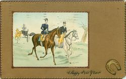 lady left on brown horse, man to her left on white horse, lady in carriage follows, horseshoe lower right