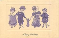 purple inset of four children holding hands in a line facing front, middle two hold doll between them