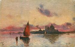 VENICE - LOVELY, INCOMPARABLE, SET LIKE A JEWEL//PURPLE SKY  sailboat left centre, domes & buildings on horizon