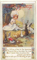 BIRTHDAY GREETINGS  girl & rabbits around