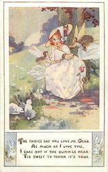 girl with fairies, rabbits, and cupid