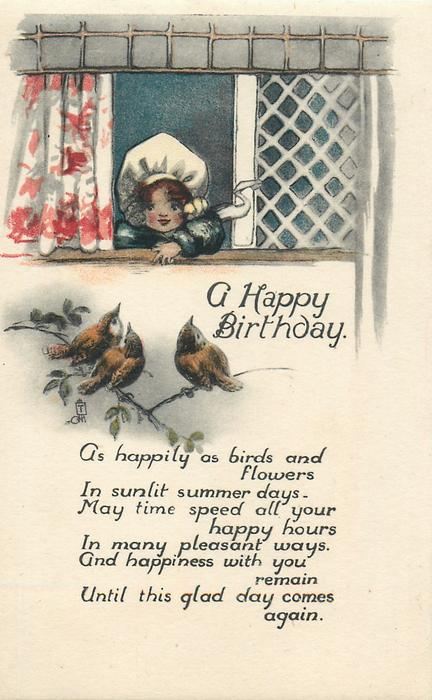 A HAPPY BIRTHDAY  girl looks out of window at birds