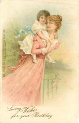 LOVING WISHES FOR YOUR BIRTHDAY  woman in pink carries child piggy-back