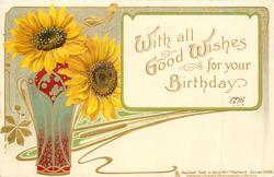 WITH ALL GOOD WISHES FOR YOUR BIRTHDAY  vase & two sunflowers