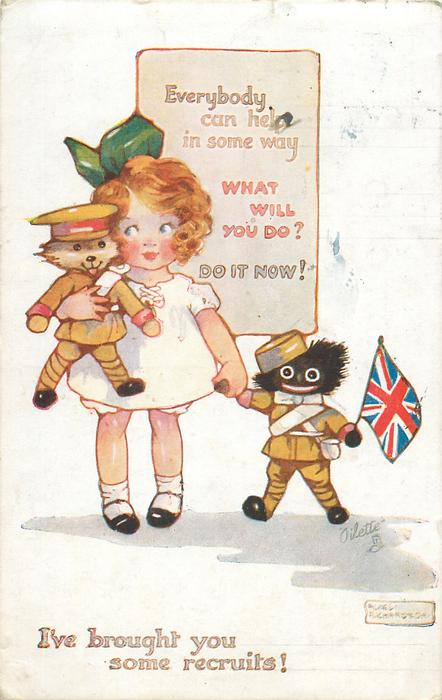 I'VE BROUGHT YOU SOME RECRUITS!, on wall EVERYBODY CAN HELP IN SOME WAY, WHAT WILL YOU DO? DO IT NOW!  patriotic golly & teddy