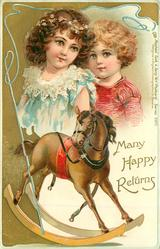 MANY HAPPY RETURNS  boy & girl, rocking horse