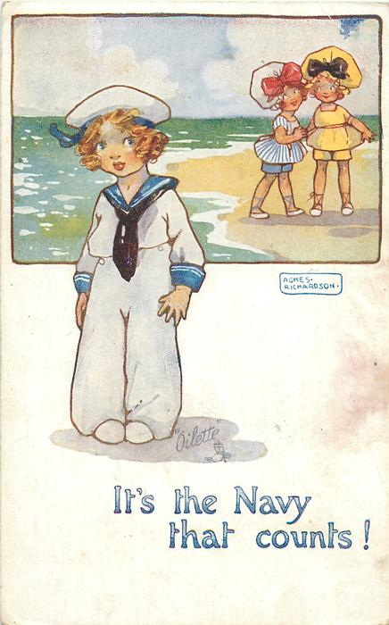 IT'S THE NAVY THAT COUNTS!  two girls in top inset, girl in sailor suit below