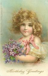 BIRTHDAY GREETINGS  blonde girl, prominent pink bow, holding vioilets