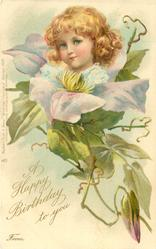 A HAPPY BIRTHDAY TO YOU  FROM  girl above light blue clematis