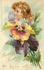 BIRTHDAY GREETINGS  FROM  girl above pansies