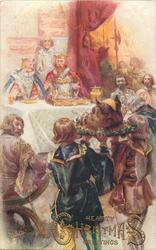 HEARTY CHRISTMAS GREETINGS, medieval King & Queen at table, boars head carried forward