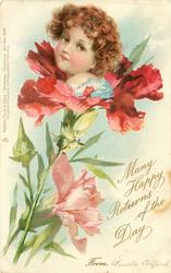 MANY HAPPY RETURNS OF THE DAY FROM  girls above carnations