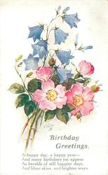 BIRTHDAY GREETINGS  sprig of wild roses & blue harebells
