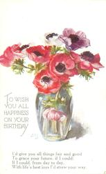 TO WISH YOU ALL HAPPINESS ON YOUR BIRTHDAY clear glass vase of red/purple anemones