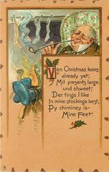 VEN CHRISTMAS KOMS ALREADY YET, MIT PRESENTS LARGE UND SHWEET, DER TINGS I LIKE BEST, PY CHIMNEY IS --MINE FEET.