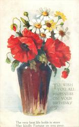TO WISH YOU ALL HAPPINESS ON YOUR BIRTHDAY brown glass vase of red poppies & daisies