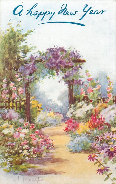 wooden archway covered with purple clematis over path