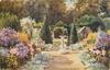 centre path with sundial, flowers on both sides, leafy arbor behind
