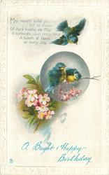 A BRIGHT AND HAPPY BIRTHDAY three blue birds & dog roses