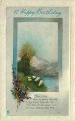 A HAPPY BIRTHDAY sheep, lake & hills above, verse below