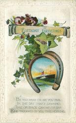 BIRTHDAY GREETINGS ship in horseshoe, ivy, pansies