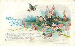 WISHING YOU A HAPPY BIRTHDAY  MAY ALL THINGS GLAD AND FAIR AND BRIGHT AND EVERY JOY THAT'S BEST SURROUND YOUR PATHWAY/FUTURE BLEST  birds, flowers