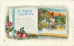 A HAPPY BIRTHDAY greeting & inset on book pages, cottage, roses