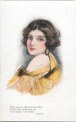woman with black hair, yellow dress faces left, looks front