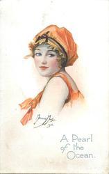 A PEARL OF THE OCEAN  girl in orange bathing costume & hat