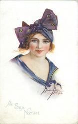 A SEA NYMPH  girl in purple bathing costume & hat
