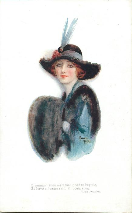 woman in blue with black fur, faces left & looks front
