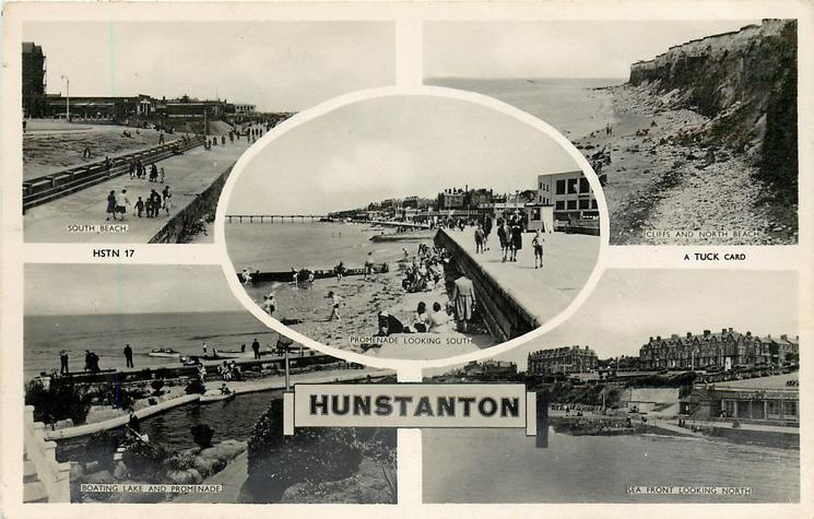 5 insets SOUTH BEACH/CLIFFS AND NORTH BEACH/PROMENADE LOOKING SOUTH/BOATING LAKE AND PROMENADE/SEA FRONT LOOKING NORTH