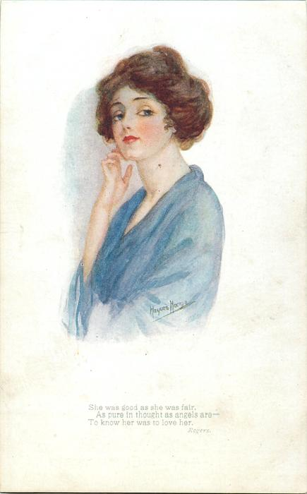woman in blue dress, faces left, looks front