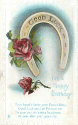 GOOD LUCK FOR A HAPPY BIRTHDAY horseshoe & two red roses