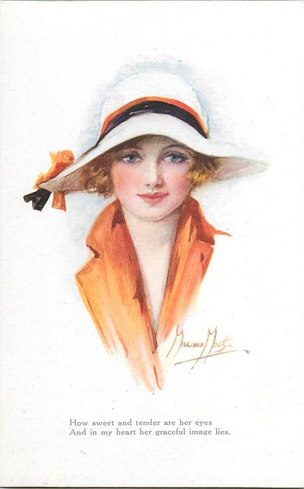 Woman With Blonde Hair In Orange Dress White Hat Faces